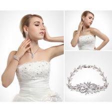 Обеци с Гривна ЕЛИСА с Кристален Цирконий и Бяло златно покритие, Zerga Brand, ZG S490