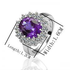 Дамски пръстен КЕЙТ, Zerga Brand, лилав кристал 18KG R01289
