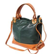 Чанта Естествена Кожа СОРЕНТО, FLORENCE, зелен/кафяв цвят, Код FL80054