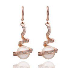 Обеци НЕЖНА ПЕРЛА, Zerga Collection, 18К розово златно покритие 18KGFNL E07181