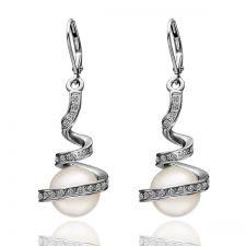 Обеци НЕЖНА ПЕРЛА, Zerga Jewelry, бяло златно покритие, 18KG E08192