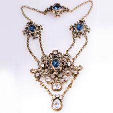 Колие ТИВОЛИ със Сини Austrian crystals и Родиево Покритие, UB Unique Boutique #UB N045