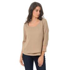 Стилна блуза VERO MODA от ефирна материя в бледо натурален цвят, Размер M,  Код BL0074