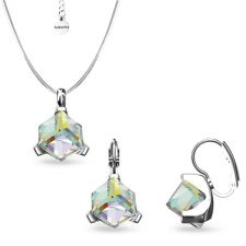 Бижута  декорирани със SWAROVSKI® CUBE Crystal AB, Бял, Колие и Обеци, 8мм, Код PR S635
