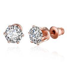 Обеци ЗЛАТЕН МИГ с Австрийски кристали и 18К Розово Злато, Колекция Zerga Brand, Код 18KG E02524