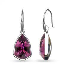 Обеци с кристали SWAROVSKI® SLIM TRILLIANT в цвят Amethyst - Лилав цвят, Код PR E629A