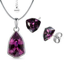 Бижута с кристали SWAROVSKI® SLIM TRILLIANT Amethyst, Лилав цвят, Колие с обеци на винт, Код PR S629B