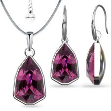 Бижута с кристали SWAROVSKI® SLIM TRILLIANT Amethyst, Лилав цвят, Колие и обеци Код PR S629A