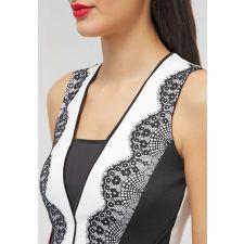 Изящна рокля ANNA FIELD с дантелени орнаменти в черно и бяло, Размер XL/XXL, Код DD0165