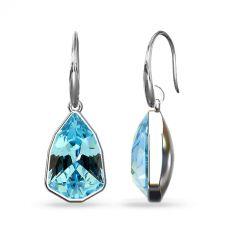 Обеци с кристали Swarovski® SLIM TRILLIANT в Aquamarine - Син цвят, Код PR E630A