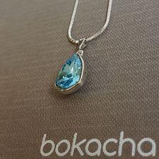 Колие с кристали SWAROVSKI® SLIM TRILLIANT, ръчна изработка в Aquamarine - Син цвят, Код PRFNS N630