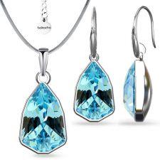 Бижута с кристали SWAROVSKI® SLIM TRILLIANT Aquamarine, Син цвят, Колие и обеци Код PR S630A