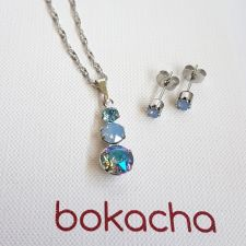 Бижута MAGIC SWAROVSKI® CHATON, Air Blue Opal, Син цвят, Колие и Обеци, Код PR S634A