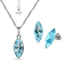 Бижута с кристали SWAROVSKI® MARQUISE Aquamarine, Син цвят, Колие с обеци на винт, Код PR S654