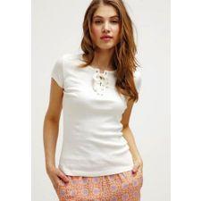 Нежна блуза ADPT в кремаво-бял цвят от лен и памук, Размер L,  Код BL0129