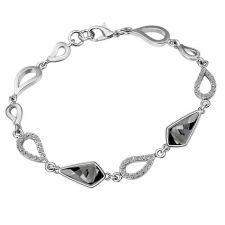 Гривна с кристали SWAROVSKI® KITE Silver Night** AB - Черен, 14 мм, Код PR B607