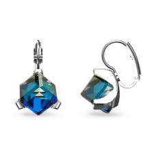 Обеци украсени със SWAROVSKI® CUBE 8мм, Bermuda Blue BBL, Син цвят, Код PR E636
