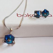 Бижута  декорирани със SWAROVSKI® CUBE Bermuda Blue BBL, Син цвят, Колие и Обеци на винт, Код PR S636-A