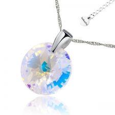 Колие с кристали Swarovski® RIVOLI 12мм Crystal Aurore Boreale** AB, Бял, Код PR N408