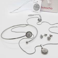 Комплект бижута с кристали SWAROVSKI® PAVE PURE, Crystal - Бял цвят, Колие, Обеци и Гривна, Код PR S706-3
