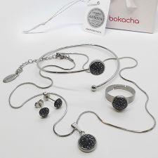 Комплект бижута с кристали SWAROVSKI® PAVE PURE, HEM - Черен цвят, Колие, Обеци, Гривна и Пръстен, Код PR S707-4