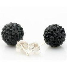 Обици Шамбала, кристали черни! 925SBE E04184