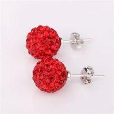925SBE E04293 Обици Шамбала с червени кристали!