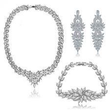 Бижута ЕЛИСА, Колие, Обеци и Гривна с Кристален Цирконий и Бяло златно покритие, Zerga Brand, ZG S571-3