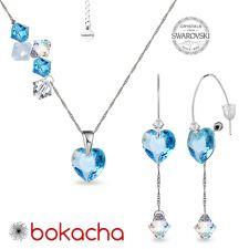 Комплект бижута CANDY HEART с кристали Swarovski®,  Aquamarine AB - Светлосин, Колие и Обеци, Код PR S696