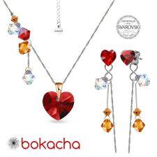 Комплект бижута CANDY HEART с кристали Swarovski®, Multi/ Light Siam AB, Червен, Колие и Обеци, Код PR S685