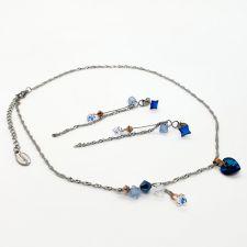 Комплект бижута CANDY HEART с кристали Swarovski®, Multi/ Bermuda Blue BBL, Син, Колие и Обеци, Код PR S683