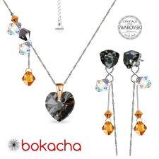 Комплект бижута CANDY HEART с кристали Swarovski®, Multi/ Silver Night** AB - Черен, Колие и Обеци, Код PR S680