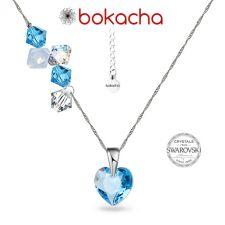 Колие CANDY HEART с кристали SWAROVSKI®, Aquamarine AB - Светлосин, Код PR N695