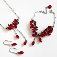 Бижута с кристали Swarovski® ROYAL CHIC, Червен цвят, Колие, Обеци и Гривна, Код PR S622 - 3