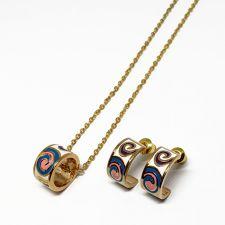 Бижута САН БЕНЕДИКТО, Колие и Обеци с жълто златно покритие и Емайл, Код UB S411