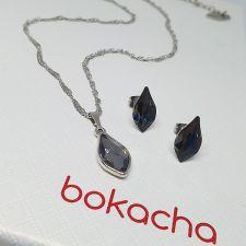 Колие с кристали SWAROVSKI® FLAME 14мм, Silver Night** AB - Черен цвят, Код PR N670