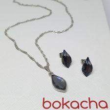 Комплект бижута с кристали Swarovski® FLAME, Silver Night** AB - Черен цвят, Колие и Обеци 14мм, Код PR S670