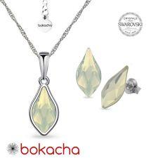 Комплект бижута с кристали Swarovski® FLAME, White Opal - Бял опал, Колие и Обеци 14мм, Код PR S669