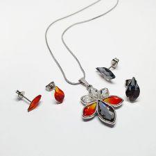 Колие FLORAL с кристали SWAROVSKI® FLAME, Multi / Fire Opal, Червен цвят, Код PR N663