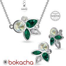 Елегантни Бижута DIVNA с кристали Swarovski®, Multi / Emerald, Зелен цвят, Комплект Колие и Обеци, Код PR S665