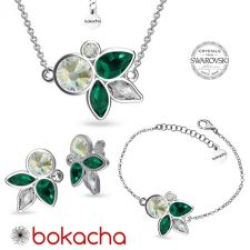 Бижута DIVNA с кристали Swarovski®, Multi / Emerald, Зелен цвят, Комплект Колие, Обеци и Гривна, Код PR S665-3