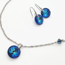 Комплект бижута CYBER с кристали SWAROVSKI® CLASSIC CUT 14мм Bermuda Blue BBL - Син цвят, Колие и Обеци, Код PR S703