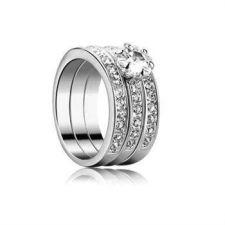 ТРОЕН пръстен Swarovski Crystals, колекция Zerga - покритие от бяло злато, ZG R806