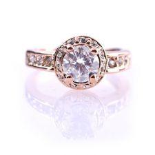 Бижута ПРИНЦЕС Swarovski Elements, колекция Zerga, колие, обеци и пръстен, 18К розово златно покритие, ZG S812