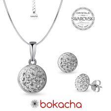 Комплект бижута с кристали SWAROVSKI® PAVE PURE, Crystal - Бял цвят, Колие и Обеци, Код PR S706