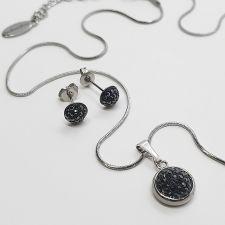 Комплект бижута с кристали SWAROVSKI® PAVE PURE, HEM - Черен цвят, Колие, Обеци и Гривна, Код PR S707-3