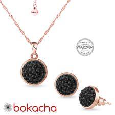 Комплект бижута с кристали SWAROVSKI® PAVE PURE, HEM - Черен цвят и Розово Злато, Колие и Обеци, Код PR S709