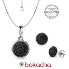 Комплект бижута с кристали SWAROVSKI® PAVE PURE, HEM - Черен цвят, Колие и Обеци, Код PR S707