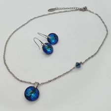 Колие CYBER с кристали SWAROVSKI® CLASSIC CUT 14мм Bermuda Blue BBL - Син цвят, Код PR N707