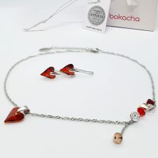 Колие CANDY WILD HEART с кристали SWAROVSKI®, Red Magma** - Червен, Код PR N690